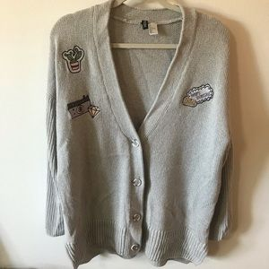 H&M Divided Cardigan With Patches Size Large